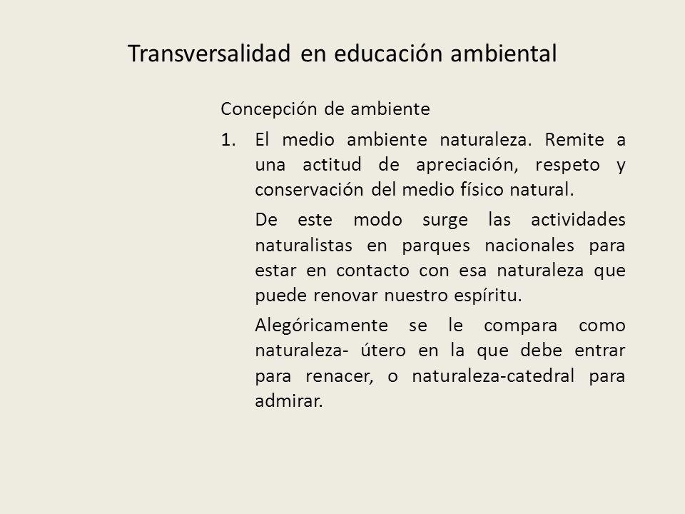 Transversalidad en educación ambiental Concepción de ambiente 1.El medio ambiente naturaleza.