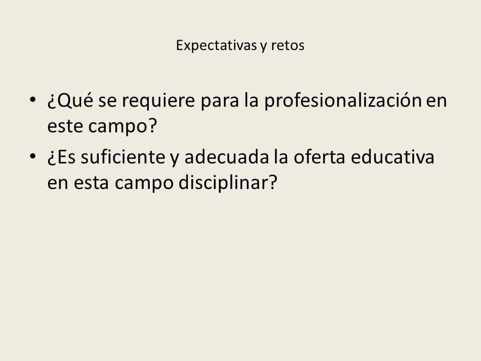 Expectativas y retos ¿Qué se requiere para la profesionalización en este campo.