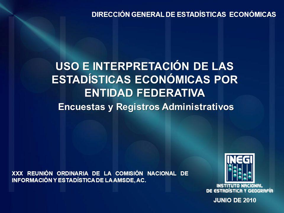 USO E INTERPRETACIÓN DE LAS ESTADÍSTICAS ECONÓMICAS POR ENTIDAD FEDERATIVA Encuestas y Registros Administrativos XXX REUNIÓN ORDINARIA DE LA COMISIÓN NACIONAL DE INFORMACIÓN Y ESTADÍSTICA DE LA AMSDE, AC.