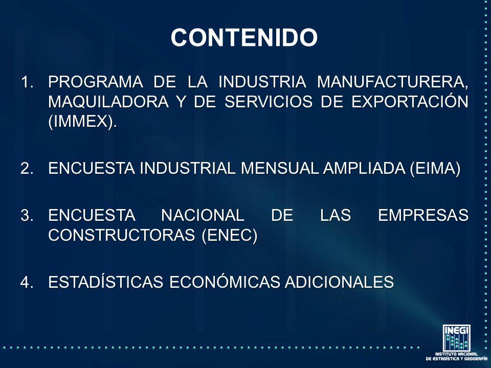CONTENIDO 1.PROGRAMA DE LA INDUSTRIA MANUFACTURERA, MAQUILADORA Y DE SERVICIOS DE EXPORTACIÓN (IMMEX).