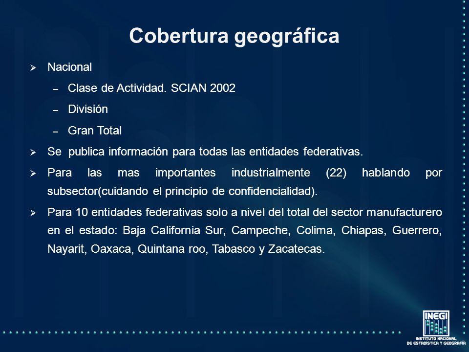 Cobertura geográfica Nacional – – Clase de Actividad.