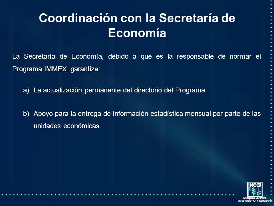 La Secretaría de Economía, debido a que es la responsable de normar el Programa IMMEX, garantiza: a)La actualización permanente del directorio del Programa b)Apoyo para la entrega de información estadística mensual por parte de las unidades económicas Coordinación con la Secretaría de Economía