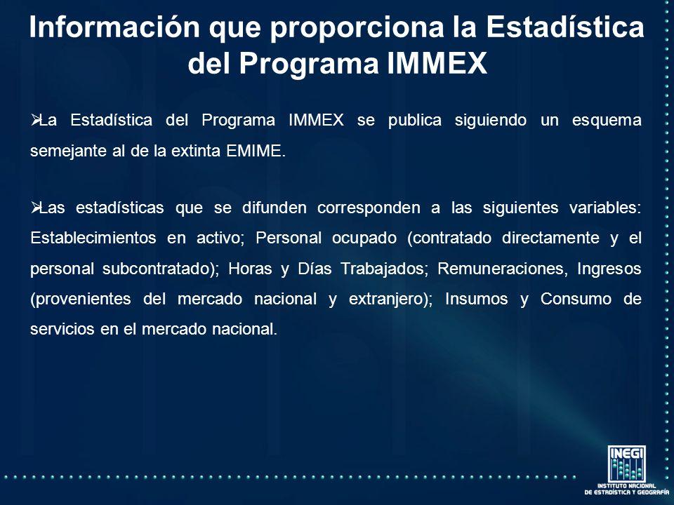 La Estadística del Programa IMMEX se publica siguiendo un esquema semejante al de la extinta EMIME.