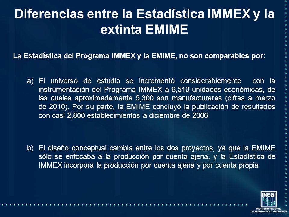 La Estadística del Programa IMMEX y la EMIME, no son comparables por: a)El universo de estudio se incrementó considerablemente con la instrumentación del Programa IMMEX a 6,510 unidades económicas, de las cuales aproximadamente 5,300 son manufactureras (cifras a marzo de 2010).