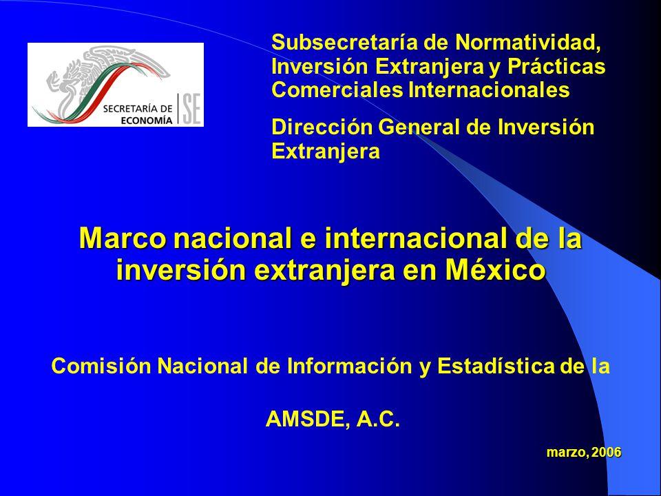 Marco nacional e internacional de la inversión extranjera en México Comisión Nacional de Información y Estadística de la AMSDE, A.C.
