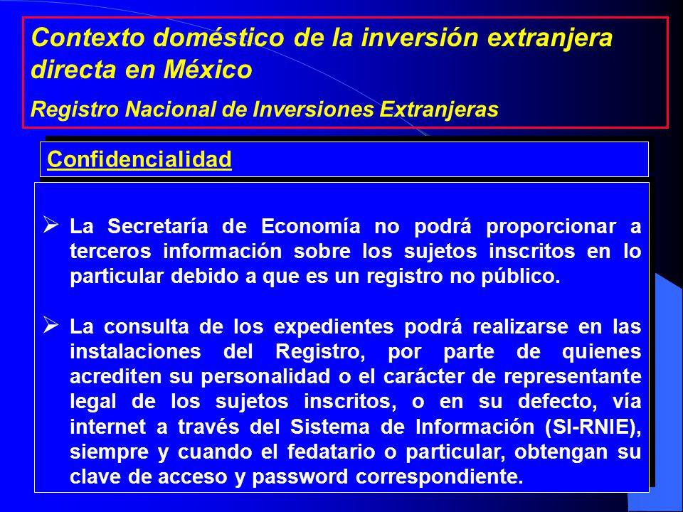 El Registro depende de la Secretaría de Economía y que está bajo la dirección del Secretario Ejecutivo de la Comisión Nacional de Inversiones Extranjeras.