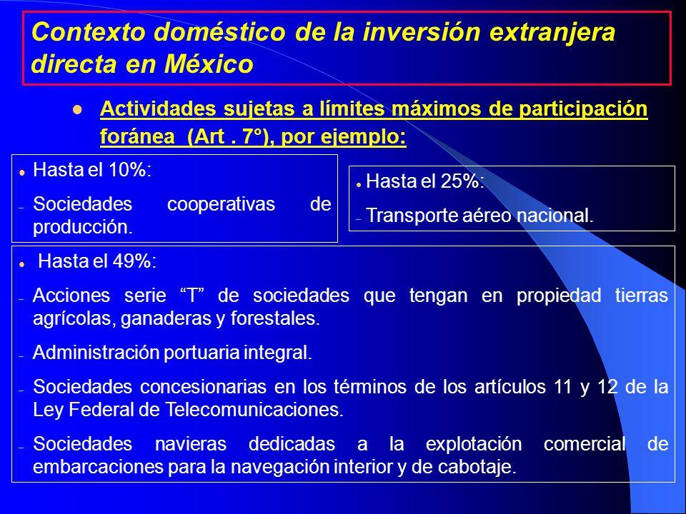 l Actividades sujetas a límites máximos de participación foránea (Art.