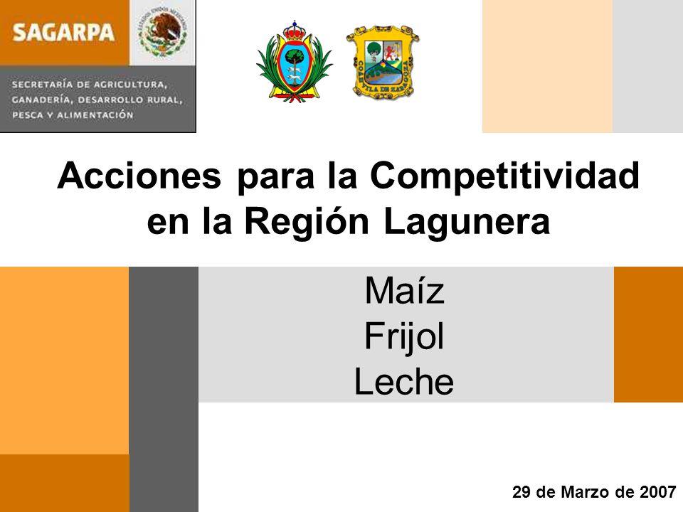 Maíz Frijol Leche 29 de Marzo de 2007 Acciones para la Competitividad en la Región Lagunera