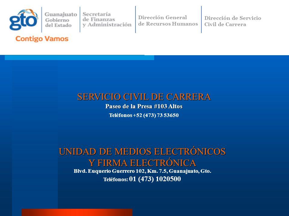 UNIDAD DE MEDIOS ELECTRÓNICOS Y FIRMA ELECTRÓNICA Blvd. Euquerio Guerrero 102, Km. 7.5, Guanajuato, Gto. Teléfonos: 01 (473) 1020500 SERVICIO CIVIL DE