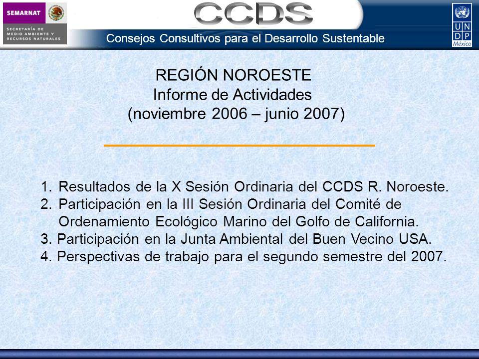 Consejos Consultivos para el Desarrollo Sustentable Principales Resultados de la Sesión Ordinaria 1.