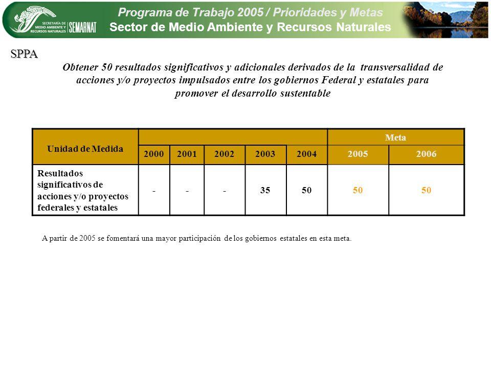 Programa de Trabajo 2005 / Prioridades y Metas Sector de Medio Ambiente y Recursos Naturales Prioridad adicional Biodiversidad, ecosistemas, vida silvestre y servicios ambientales Metas 2005