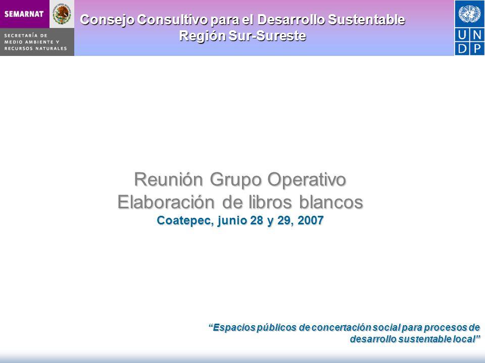 Consejo Consultivo para el Desarrollo Sustentable Región Sur-Sureste Reunión Grupo Operativo Elaboración de libros blancos Coatepec, junio 28 y 29, 20