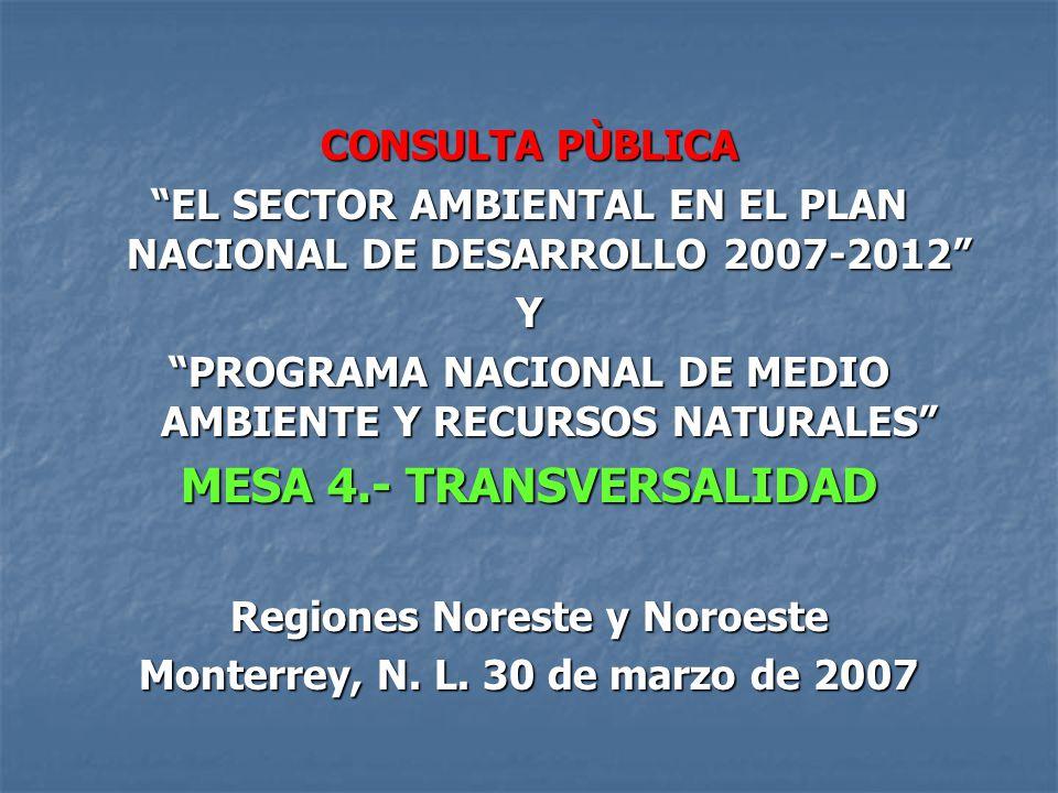 CONSULTA PÙBLICA EL SECTOR AMBIENTAL EN EL PLAN NACIONAL DE DESARROLLO 2007-2012 Y PROGRAMA NACIONAL DE MEDIO AMBIENTE Y RECURSOS NATURALES MESA 4.- TRANSVERSALIDAD Regiones Noreste y Noroeste Monterrey, N.