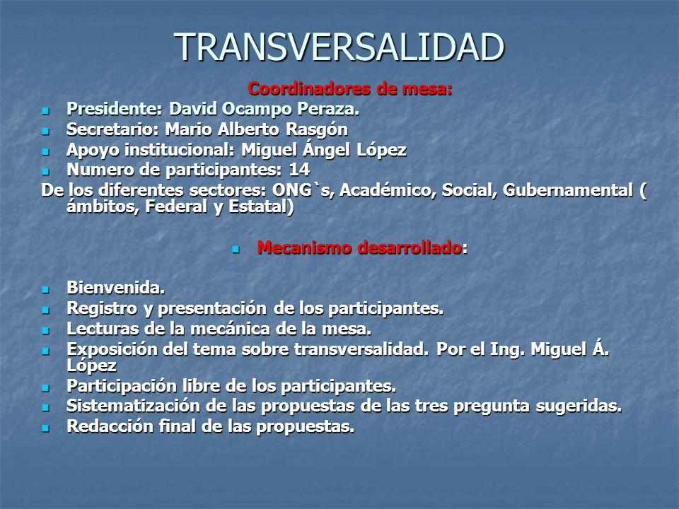 TRANSVERSALIDAD Coordinadores de mesa: Presidente: David Ocampo Peraza. Presidente: David Ocampo Peraza. Secretario: Mario Alberto Rasgón Secretario:
