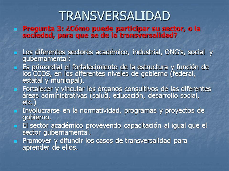 TRANSVERSALIDAD Pregunta 3: ¿Cómo puede participar su sector, o la sociedad, para que se de la transversalidad? Pregunta 3: ¿Cómo puede participar su