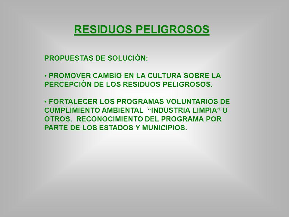 RESIDUOS PELIGROSOS PROPUESTAS DE SOLUCIÓN: PROMOVER CAMBIO EN LA CULTURA SOBRE LA PERCEPCIÓN DE LOS RESIDUOS PELIGROSOS. FORTALECER LOS PROGRAMAS VOL