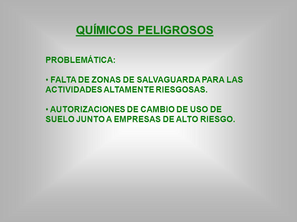 QUÍMICOS PELIGROSOS PROBLEMÁTICA: FALTA DE ZONAS DE SALVAGUARDA PARA LAS ACTIVIDADES ALTAMENTE RIESGOSAS. AUTORIZACIONES DE CAMBIO DE USO DE SUELO JUN