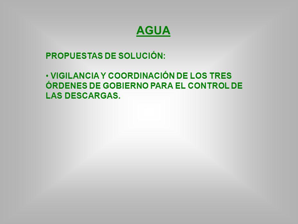 AGUA PROPUESTAS DE SOLUCIÓN: VIGILANCIA Y COORDINACIÓN DE LOS TRES ÓRDENES DE GOBIERNO PARA EL CONTROL DE LAS DESCARGAS.
