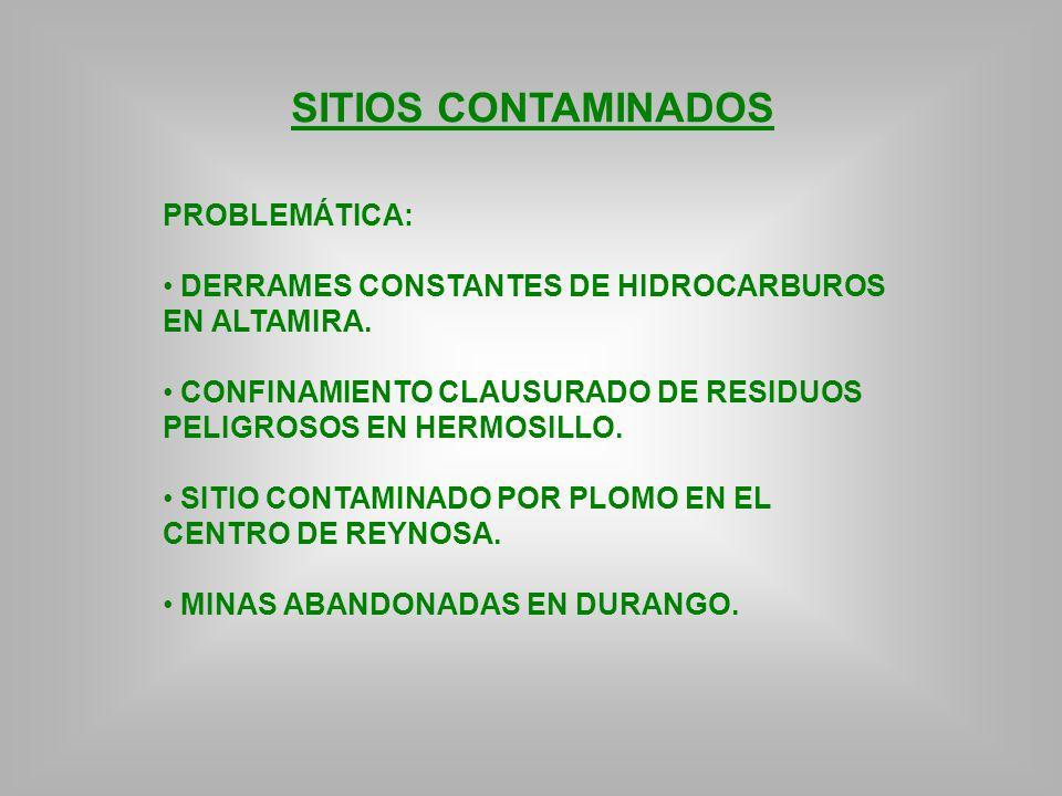 SITIOS CONTAMINADOS PROBLEMÁTICA: DERRAMES CONSTANTES DE HIDROCARBUROS EN ALTAMIRA. CONFINAMIENTO CLAUSURADO DE RESIDUOS PELIGROSOS EN HERMOSILLO. SIT