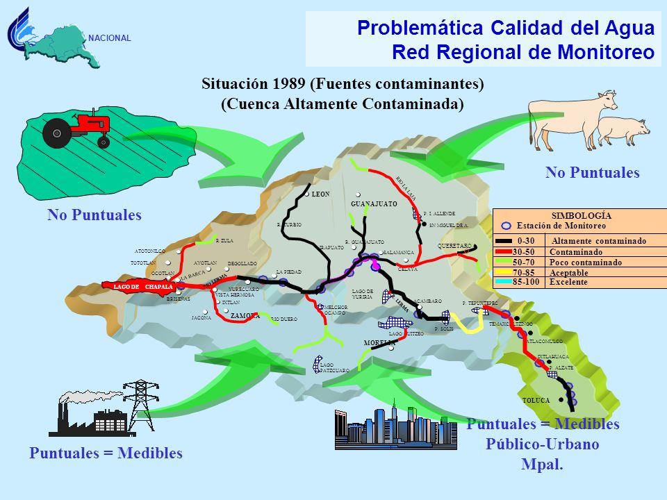 COMISION NACIONAL DEL AGUA Problemática Calidad del Agua Red Regional de Monitoreo Situación 1989 (Fuentes contaminantes) (Cuenca Altamente Contaminad