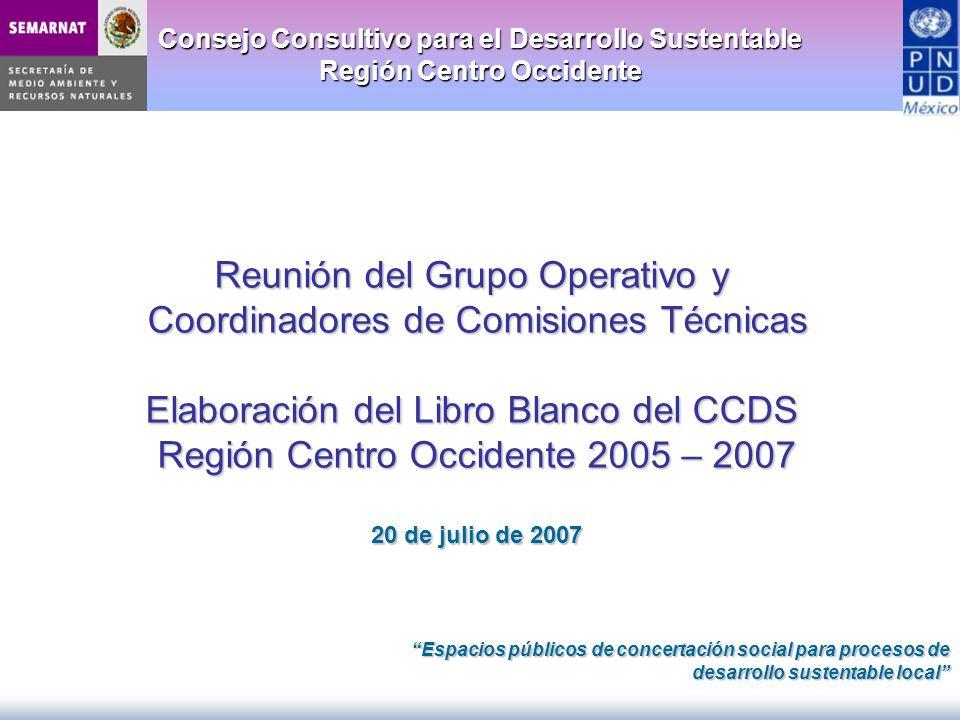 Consejo Consultivo para el Desarrollo Sustentable Región Centro Occidente Reunión del Grupo Operativo y Coordinadores de Comisiones Técnicas Elaboraci