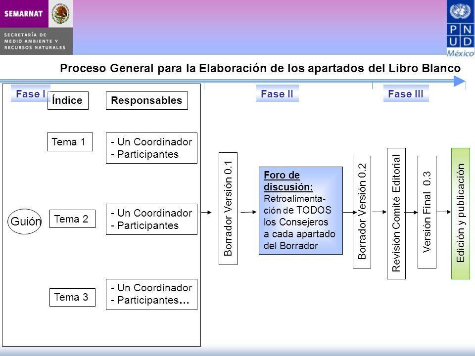 Foro de discusión: Retroalimenta- ción d e TODOS los Consejeros a cada apartado del Borrador Borrador Versión 0.2 Proceso General para la Elaboración