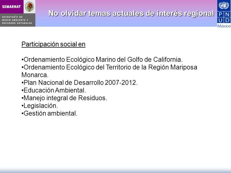 No olvidar temas actuales de interés regional No olvidar temas actuales de interés regional Participación social en Ordenamiento Ecológico Marino del