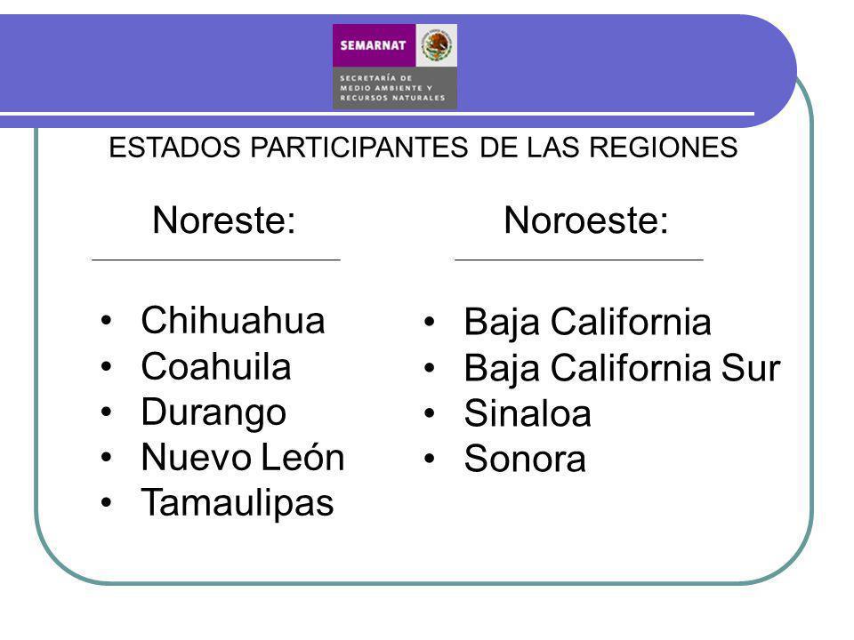 ESTADOS PARTICIPANTES DE LAS REGIONES Noreste: Chihuahua Coahuila Durango Nuevo León Tamaulipas Baja California Baja California Sur Sinaloa Sonora Noroeste: