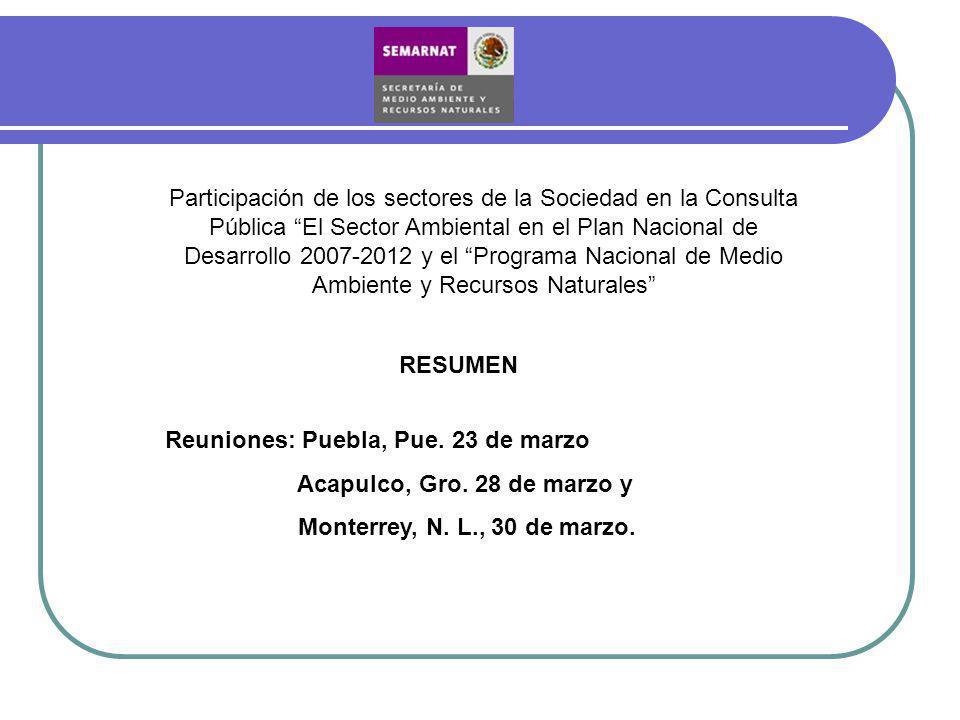 Participación de los sectores de la Sociedad en la Consulta Pública El Sector Ambiental en el Plan Nacional de Desarrollo 2007-2012 y el Programa Naci
