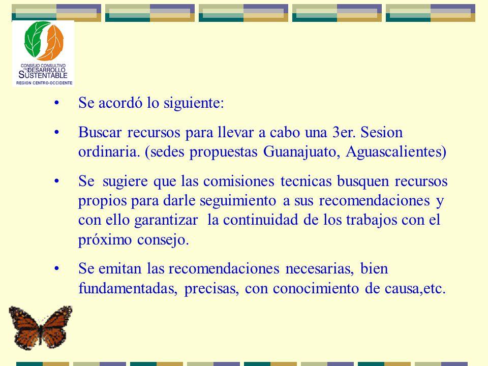 Se acordó lo siguiente: Buscar recursos para llevar a cabo una 3er. Sesion ordinaria. (sedes propuestas Guanajuato, Aguascalientes) Se sugiere que las