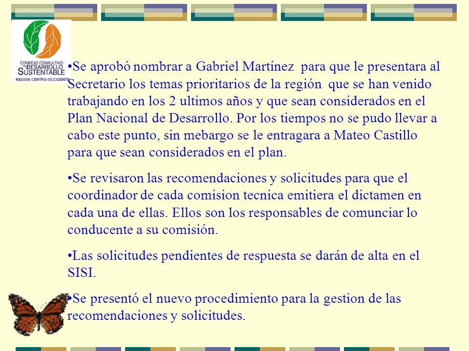Se aprobó nombrar a Gabriel Martínez para que le presentara al Secretario los temas prioritarios de la región que se han venido trabajando en los 2 ultimos años y que sean considerados en el Plan Nacional de Desarrollo.