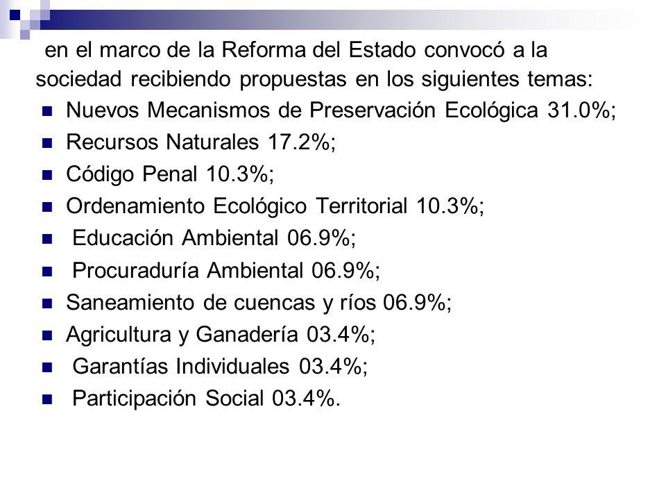 en el marco de la Reforma del Estado convocó a la sociedad recibiendo propuestas en los siguientes temas: Nuevos Mecanismos de Preservación Ecológica