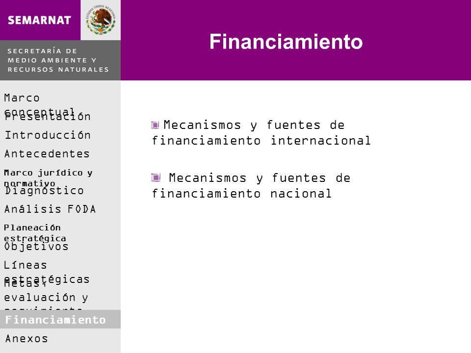 Marco conceptual Presentación Introducción Antecedentes Marco jurídico y normativo Análisis FODA Diagnóstico Planeación estratégica Objetivos Líneas estratégicas Metas, evaluación y seguimiento Financiamiento Anexos Financiamiento Mecanismos y fuentes de financiamiento internacional Mecanismos y fuentes de financiamiento nacional