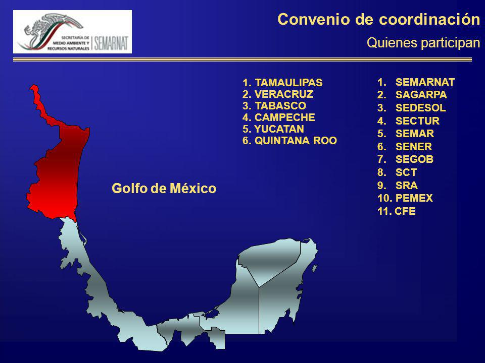 Convenio de coordinación Quienes participan 1. TAMAULIPAS 2. VERACRUZ 3. TABASCO 4. CAMPECHE 5. YUCATAN 6. QUINTANA ROO Golfo de México 1. SEMARNAT 2.
