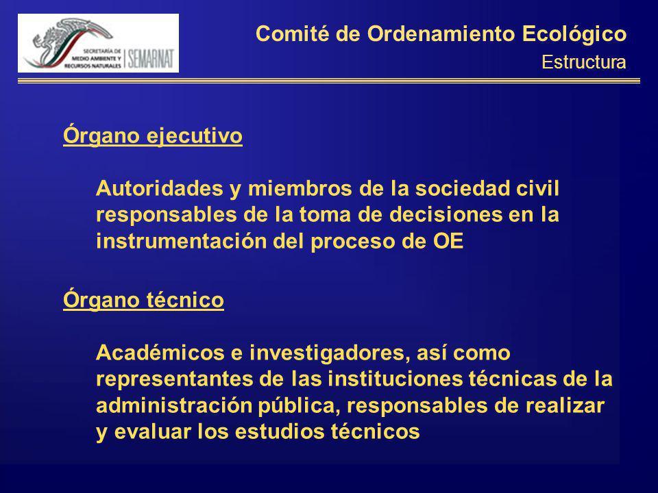 Comité de Ordenamiento Ecológico Estructura Órgano ejecutivo Autoridades y miembros de la sociedad civil responsables de la toma de decisiones en la i