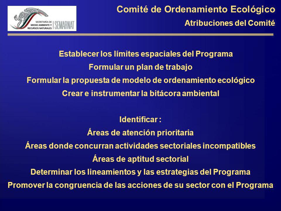 Comité de Ordenamiento Ecológico Atribuciones del Comité Establecer los límites espaciales del Programa Formular un plan de trabajo Formular la propue