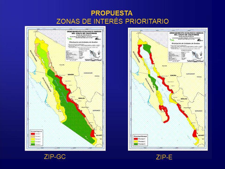 PROPUESTA ZONAS DE INTERÉS PRIORITARIO ZIP-GC ZIP-E