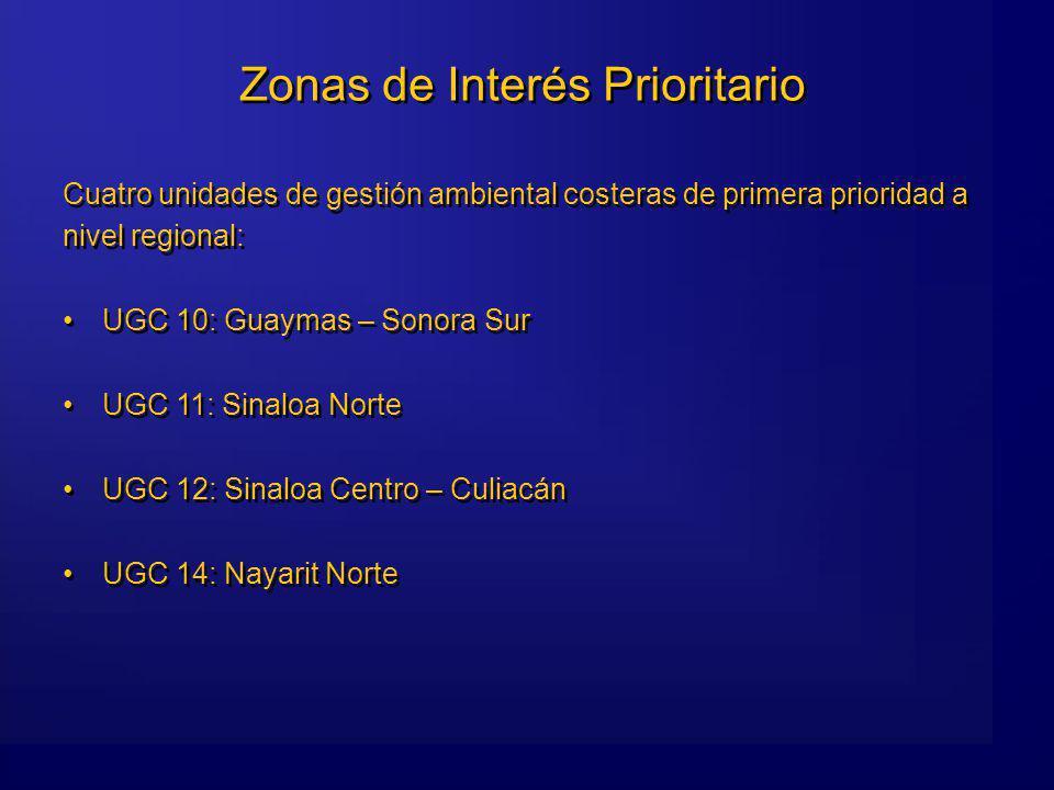 Zonas de Interés Prioritario Cuatro unidades de gestión ambiental costeras de primera prioridad a nivel regional: UGC 10: Guaymas – Sonora Sur UGC 11: