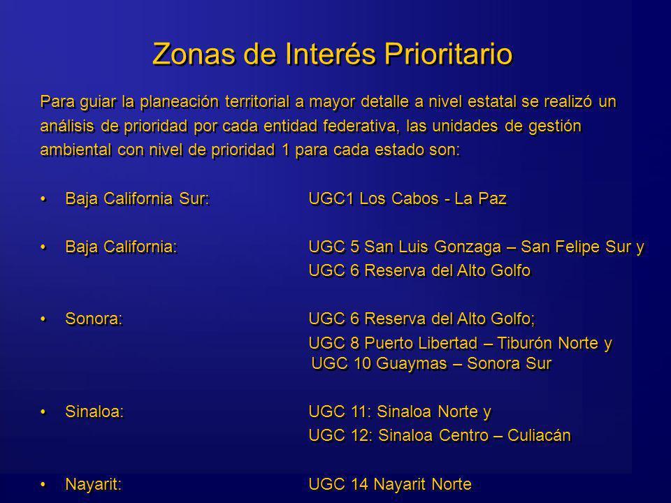 Zonas de Interés Prioritario Para guiar la planeación territorial a mayor detalle a nivel estatal se realizó un análisis de prioridad por cada entidad