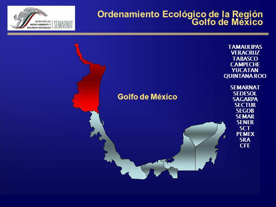 Ordenamiento Ecológico de la Región Golfo de México Golfo de México TAMAULIPAS VERACRUZ TABASCO CAMPECHE YUCATAN QUINTANA ROO SEMARNAT SEDESOL SAGARPA SECTUR SEGOB SEMAR SENER SCT PEMEX SRA CFE