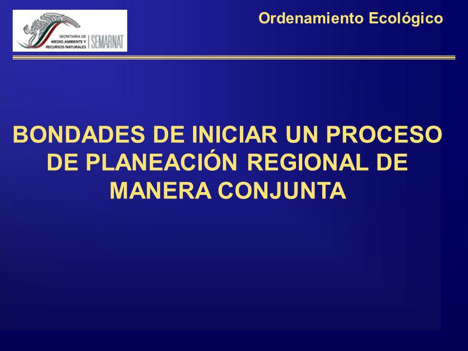 BONDADES DE INICIAR UN PROCESO DE PLANEACIÓN REGIONAL DE MANERA CONJUNTA Ordenamiento Ecológico