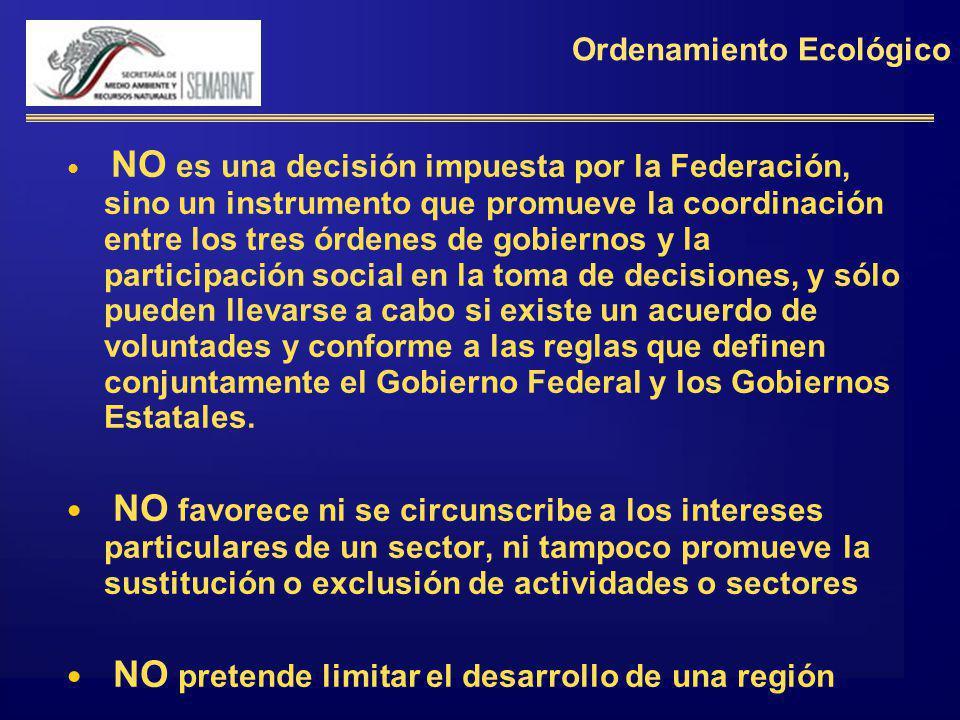 Ordenamiento Ecológico NO es una decisión impuesta por la Federación, sino un instrumento que promueve la coordinación entre los tres órdenes de gobie