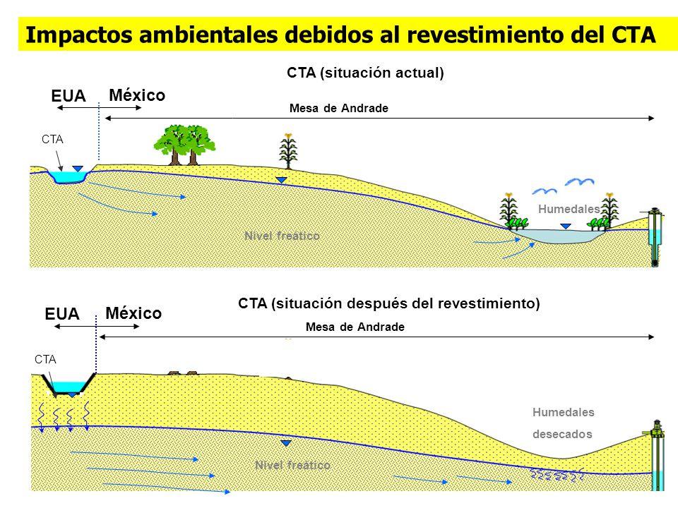 CTA (situación actual) EUA México Mesa de Andrade Humedales Nivel freático EUA México Mesa de Andrade Impactos ambientales debidos al revestimiento de