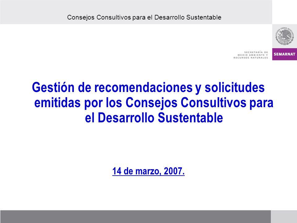 Gestión de recomendaciones y solicitudes emitidas por los Consejos Consultivos para el Desarrollo Sustentable 14 de marzo, 2007.