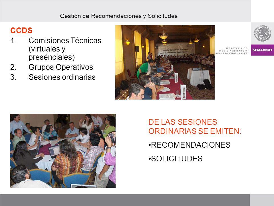 CCDS 1.Comisiones Técnicas (virtuales y presénciales) 2.Grupos Operativos 3.Sesiones ordinarias Gestión de Recomendaciones y Solicitudes DE LAS SESIONES ORDINARIAS SE EMITEN: RECOMENDACIONES SOLICITUDES