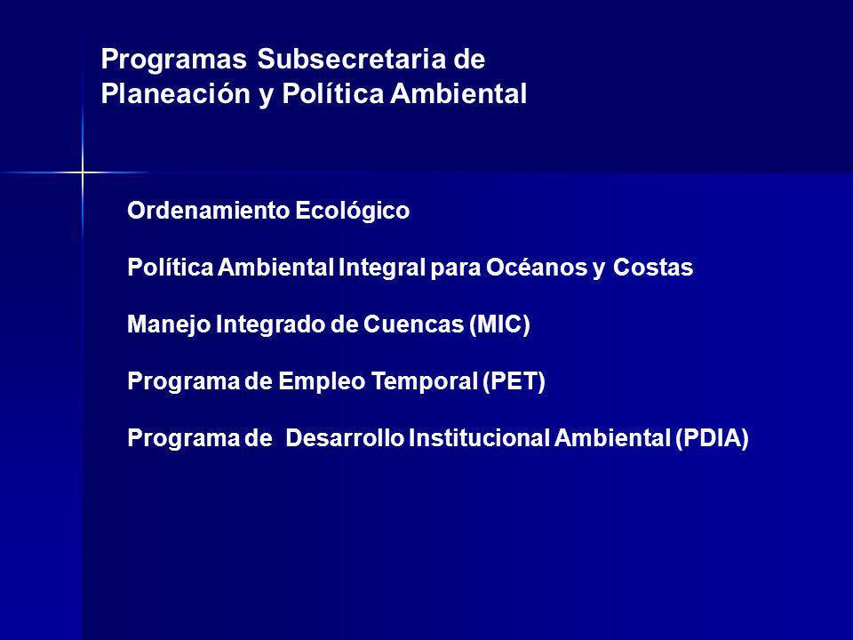 Programas Subsecretaria de Planeación y Política Ambiental Ordenamiento Ecológico Política Ambiental Integral para Océanos y Costas Manejo Integrado de Cuencas (MIC) Programa de Empleo Temporal (PET) Programa de Desarrollo Institucional Ambiental (PDIA)