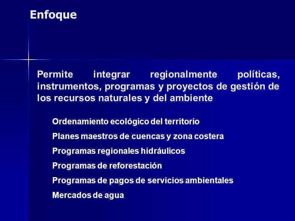 Permite integrar regionalmente políticas, instrumentos, programas y proyectos de gestión de los recursos naturales y del ambiente Ordenamiento ecológico del territorio Planes maestros de cuencas y zona costera Programas regionales hidráulicos Programas de reforestación Programas de pagos de servicios ambientales Mercados de agua Enfoque