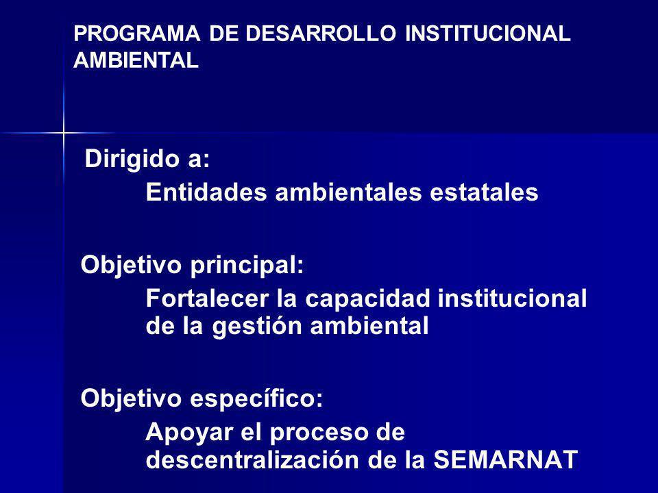 Dirigido a: Entidades ambientales estatales Objetivo principal: Fortalecer la capacidad institucional de la gestión ambiental Objetivo específico: Apoyar el proceso de descentralización de la SEMARNAT PROGRAMA DE DESARROLLO INSTITUCIONAL AMBIENTAL