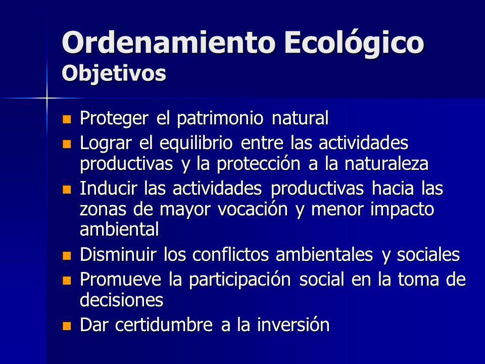 Ordenamiento Ecológico Objetivos Proteger el patrimonio natural Proteger el patrimonio natural Lograr el equilibrio entre las actividades productivas