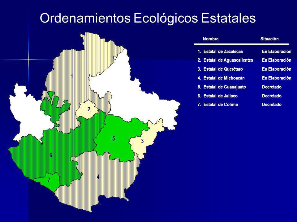 Ordenamientos Ecológicos Estatales 1.Estatal de ZacatecasEn Elaboración 2.Estatal de AguascalientesEn Elaboración 3.Estatal de QuerétaroEn Elaboración